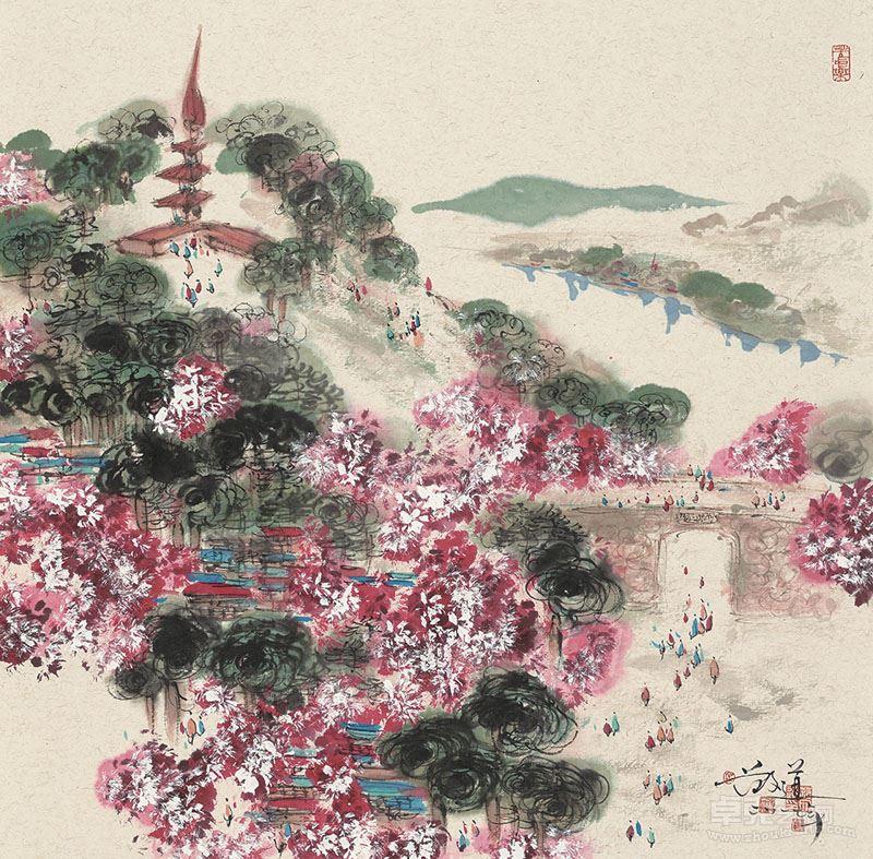 范文道--解放门春景,纸本设色,2017年,69x69cm