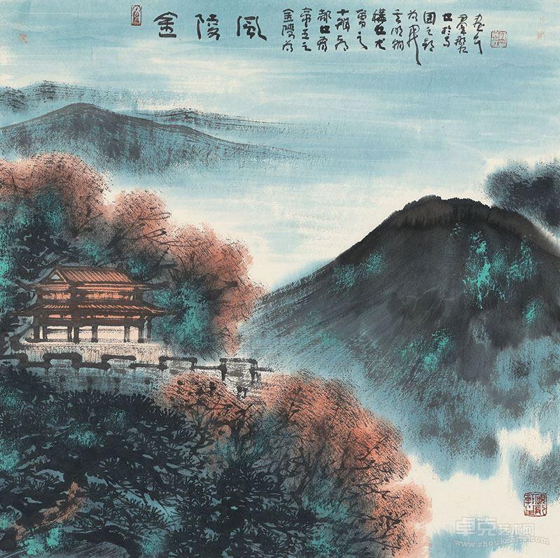 韩显红--金陵风,纸本设色,2017年,69x69cm