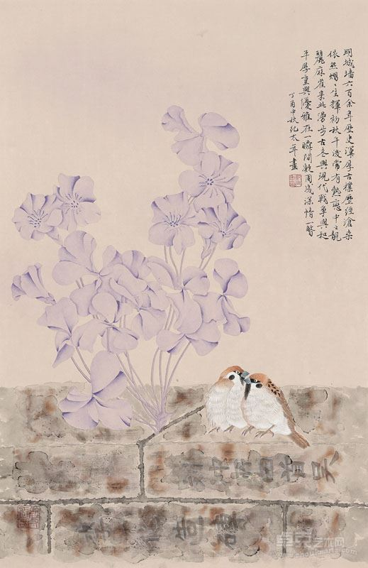 纪太年  情侣纸本设色,2017年,70x45cm