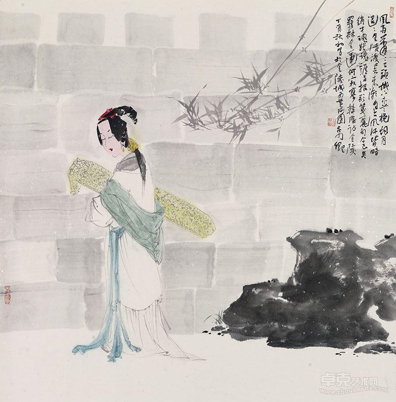 吕少卿-风雨萧萧石头城,纸本水墨,2017年,68x68cm
