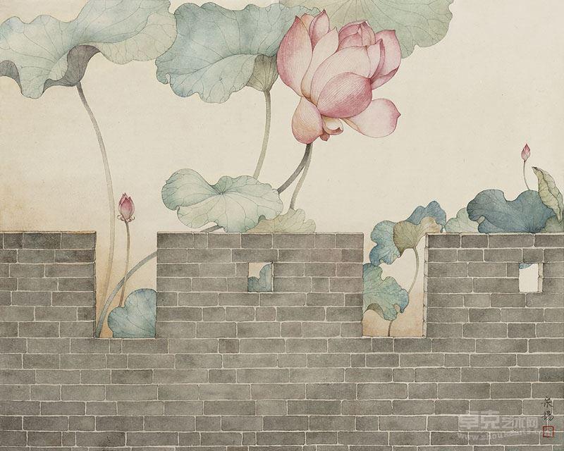 宋扬《巍然莲开》,50cm-64cm-纸本设色,2017年