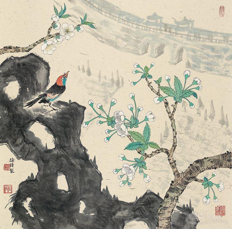 徐锴-玄武春色,纸本设色,2017年,69x69cm