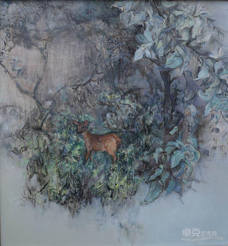 骆韬颖 《鹿》布面油画 创作年代:2012年 70cmx70cm