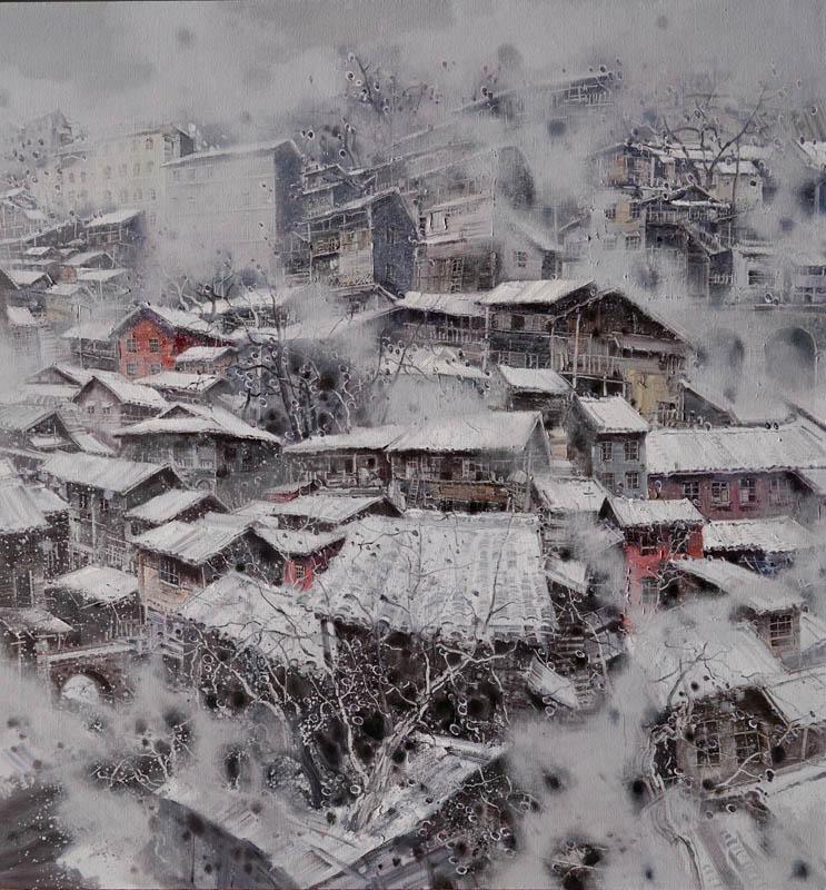 翁凯旋 江南春雪系列之6 180x170cm  布面油彩。2017年