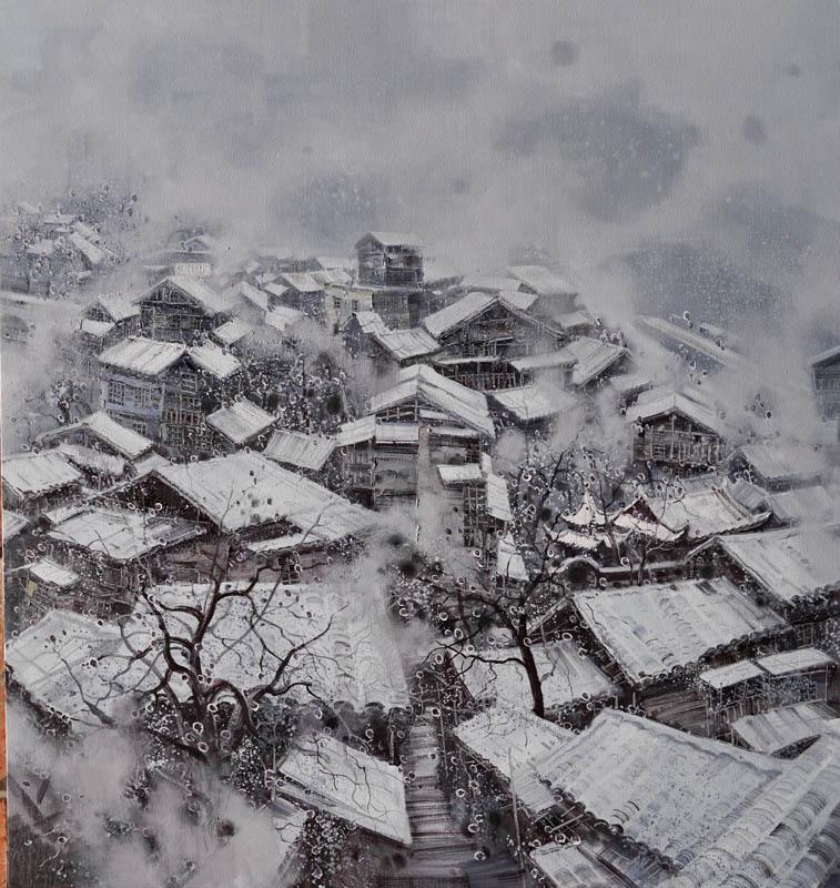 翁凯旋 江南春雪系列之7  180x170cm  布面油彩。2017年