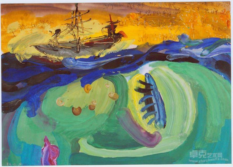 周咏 《梦魇之六》26cm×37cm 纸本水粉 2004年
