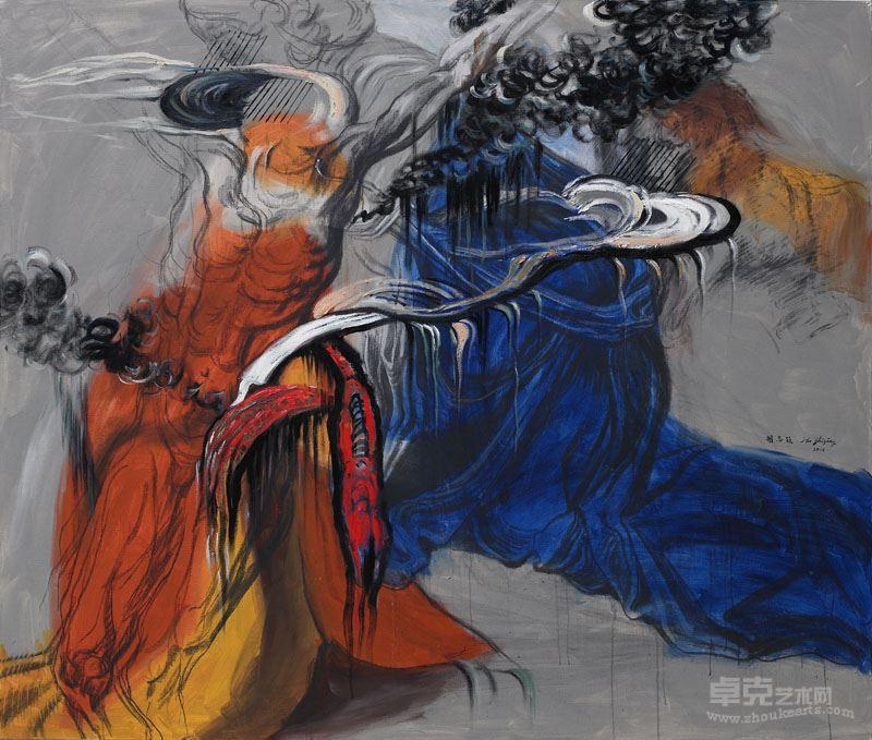 胡志颖   基督蒙难之二  2015,布上油彩、丙烯、木碳,170×200 cm