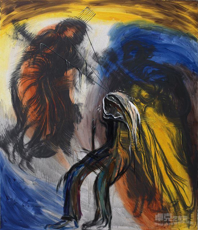 胡志颖   天使之四,2015,布上油彩、丙烯、木碳,200x170cm
