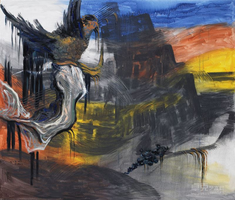 胡志颖   天使之一,2015,布上油彩、丙烯、木碳,170x200cm