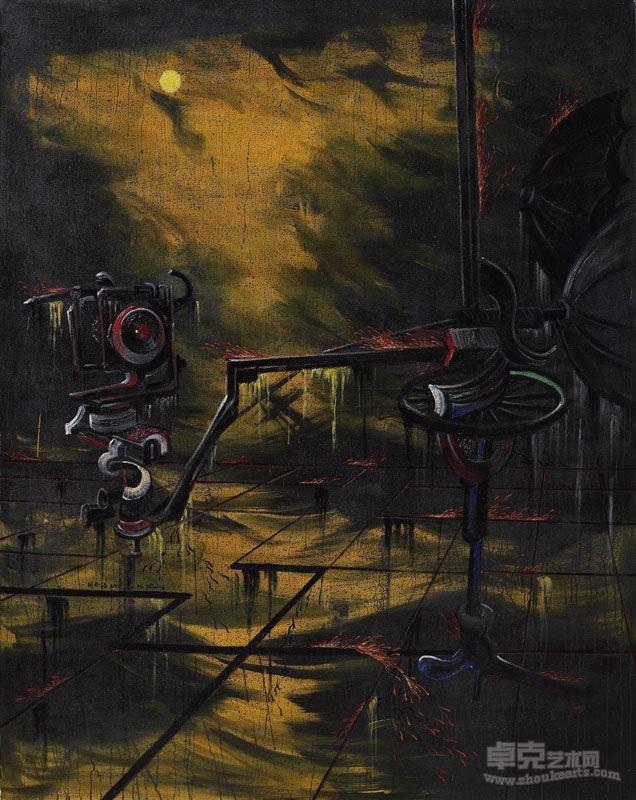 胡志颖  白月(1)  2010,布上油彩、丙烯、大漆,206×163cm