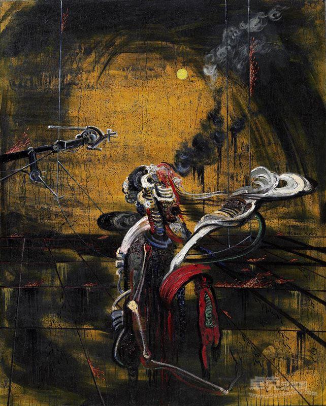 胡志颖  白月(2)  2010,布上油彩、丙烯、大漆,206×163cm