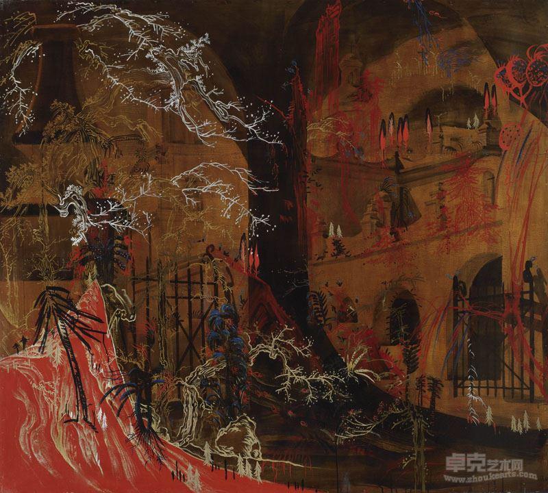 胡志颖  天文之三,1995,板上综合媒介,180×200cm