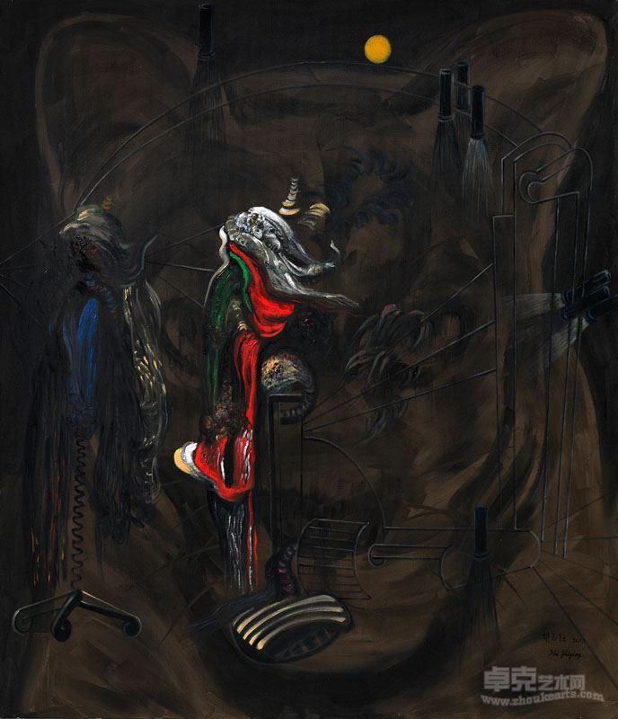 胡志颖  月中动物(2)  2010,布上油彩、丙烯,200×170cm