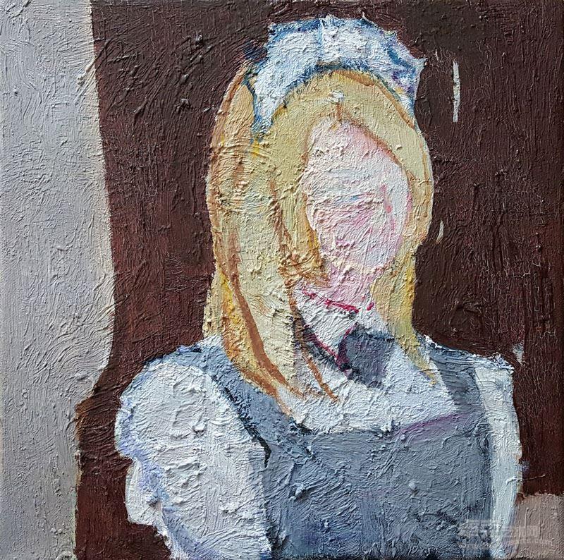 褚先宇 《女仆小姐的上半身》40X40cm布面油画 2017