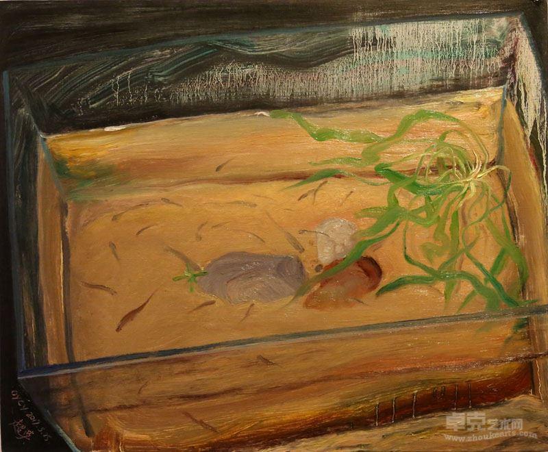 欧阳超英 《一天到晚游泳的鱼》布面油画50×60cm 2017年