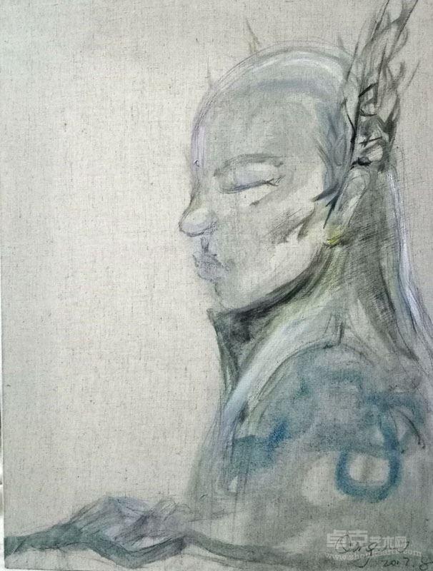 汪庆 像,19x24cm  布面油画