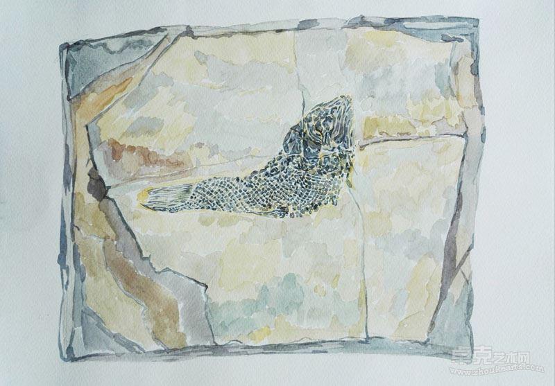张国刚 罗平小鱼,纸本水彩,2013,21x29cm