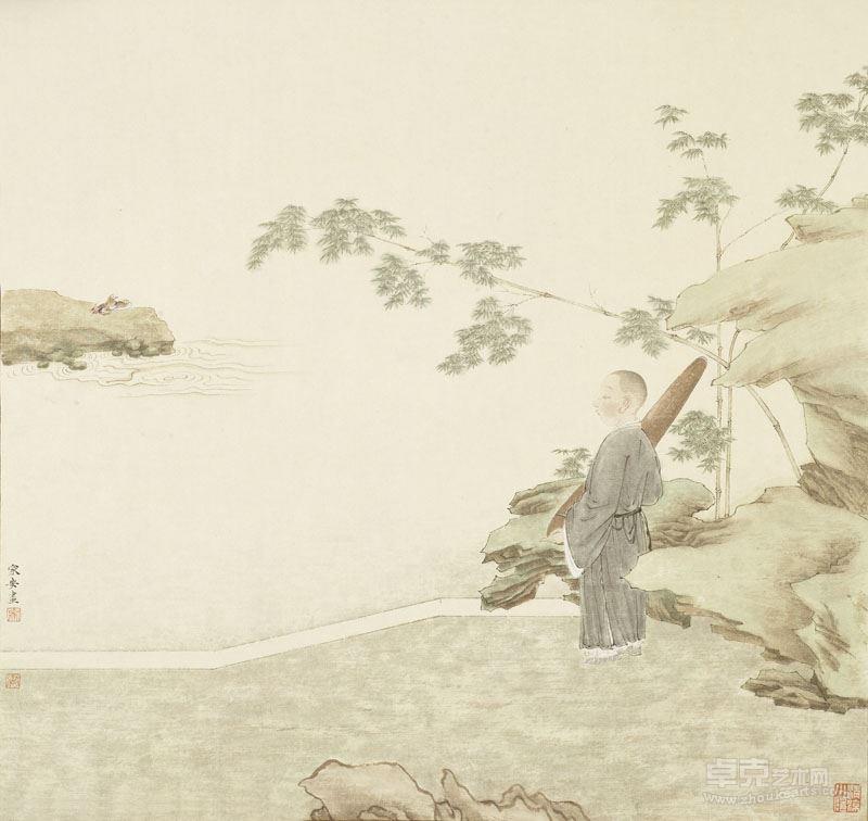 邓家安- 小僧携琴图 46x48.5cm 纸本设色 2017年