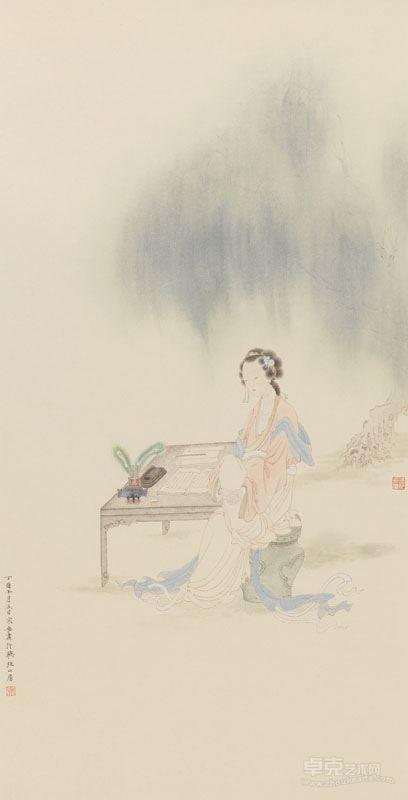 邓家安- 柳荫仕女图 69.5x33cm 纸本设色