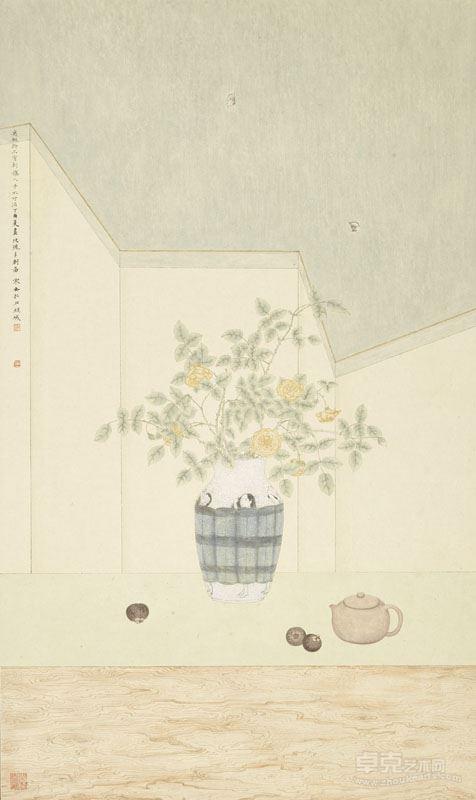 邓家安- 玫瑰多刺图 97x57.5cm 纸本设色 2017年