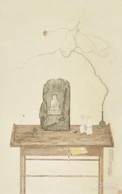 邓家安- 小僧礼佛图 121x75.5cm 纸本设色 2017年