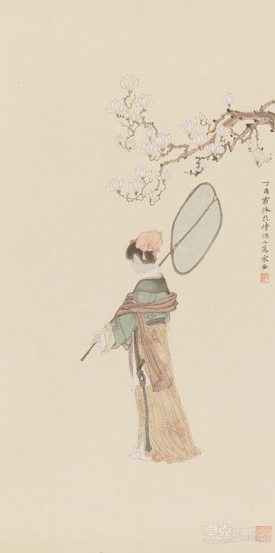 邓家安-执扇仕女图 70x34.5cm 纸本设色